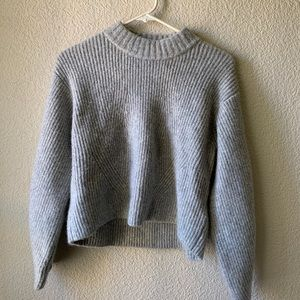 Grey H&M Boxy Structured Crop Sweater Size XS